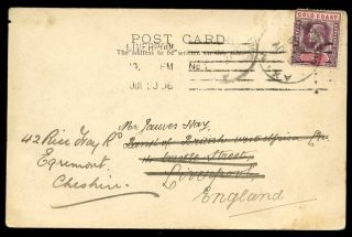 Gold Coast 1906 Ppc Ascencion Town Axim Postmark To Uk photo