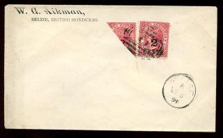 British Honduras Cover 1891 Cover 2c/1d + Bi - Sect Philatelic Use Only photo