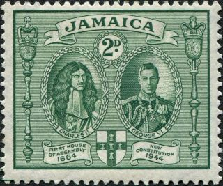 Jamaica 1945 (kgvi) 2d Green Sg135a Cv £0.  30 Mh Postage photo