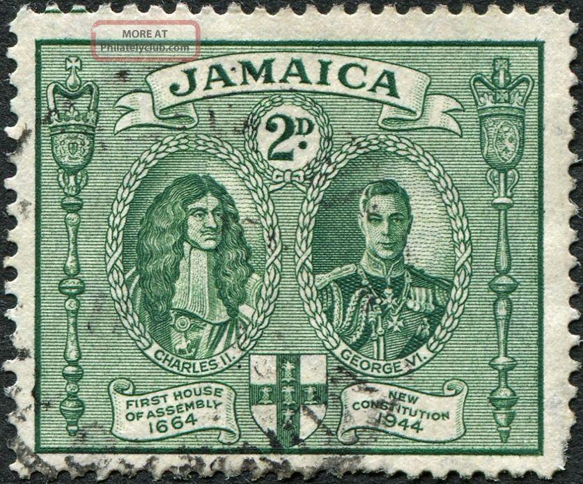 Jamaica 1945 - 6 (kgvi) 2d Green Sg135 Cv £1.  00 F Uh Postage British Colonies & Territories photo