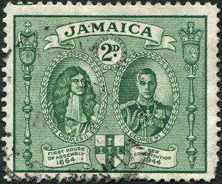 Jamaica 1945 - 6 (kgvi) 2d Green Sg135 Cv £1.  00 F Uh Postage photo