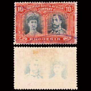 Rhodesia Kgv 1910 - 13 Double Head 10/ - Sg 163 Fine Revenue photo