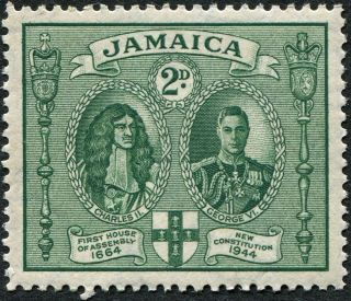 Jamaica 1945 - 6 (kgvi) 2d Green Sg135 Cv £14.  00 Mh Postage photo