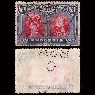 Rhodesia Kgv 1910 - 13 Double Head £1 Sg 166 Fiscally photo