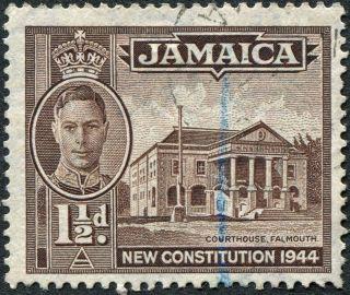 Jamaica 1946 (kgvi) 1 1/2d Sepia Sg134a Cv £1.  75 F Uh Postage photo
