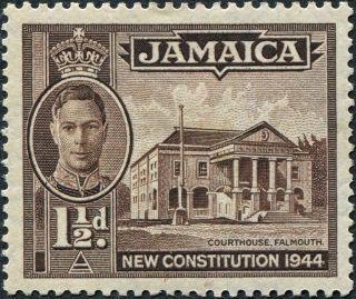 Jamaica 1946 (kgvi) 1 1/2d Sepia Sg134a Cv £10.  00 F Mh Postage photo