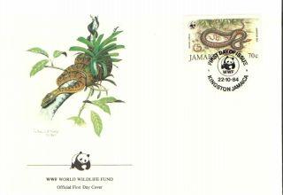 (72380) Fdc Wwf Jamaica - Snake Jamaican Boa photo