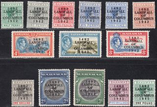 1942 Bahamas Kgvi Overprint Columbus (sg 162 - 175a) Mh Vf Cv: £80 photo