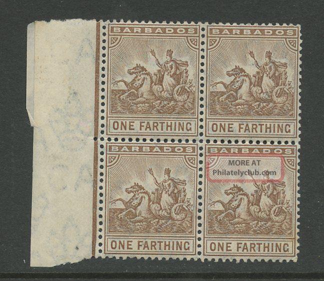 Barbados 1909 Farthing. . .  Sg163. . .  Um Marginal Block Of 4 British Colonies & Territories photo