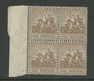 Barbados 1909 Farthing. . .  Sg163. . .  Um Marginal Block Of 4 photo
