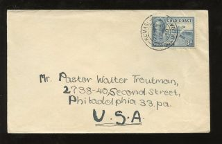 Gold Coast Kg6 1950 Cover 3d Solo To Usa. . .  Kumasi Double Ring Postmark photo