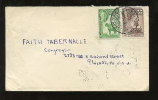 Gold Coast Kg6 1953 Cover 2d + 1/2d To Usa. . .  Nyakrom Postmark photo