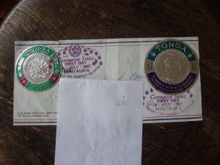 1967 Vintage Tonga Coronation Day Postage Stamp photo