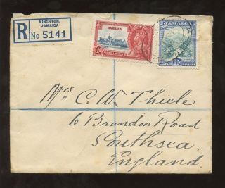 Jamaica 1935 Kg5 Jubilee 1d + Castleton 2 1/2d On Regist.  Cover To Gb photo