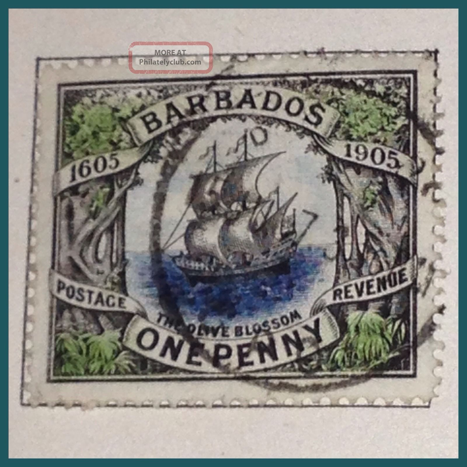 Barbados 1905 The Orange Blossom Ship 1d Fine As Per Scans British Colonies & Territories photo