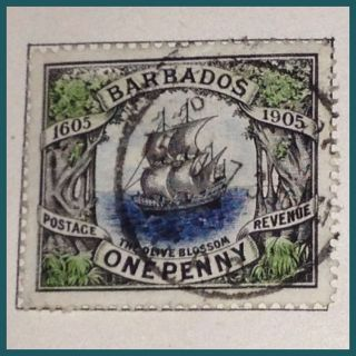 Barbados 1905 The Orange Blossom Ship 1d Fine As Per Scans photo
