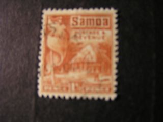 Samoa,  Scott 144,  11/2p.  Value 1921 British Flag & Samoan House Issue Mlh photo