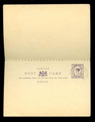 Labuan Qv Stationery Reply Card Cto 1901 photo
