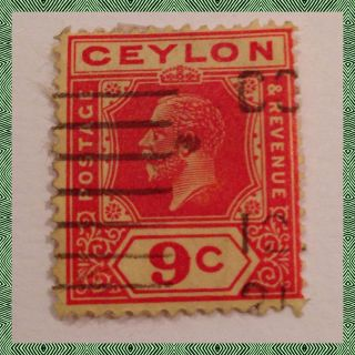 Ceylon King George V Sg 305 9c Red & Yellow Good As Per Scan photo