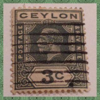 Ceylon King George V Sg 313 3 Cents Grey Green As Per Scan photo