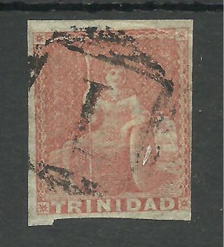 Trinidad Sg8 The 1855 (1d) Brick Red Good To Fine Cat £75,  See Scans photo