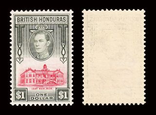 British Honduras Kgvi 1938 - 47 $1 Sg 159 Fine Lightly Hinged Cv £48 photo