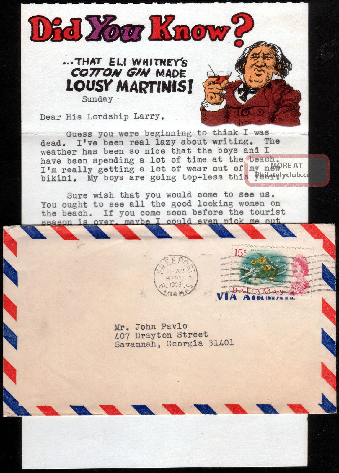 1968 Bahamas Qeii 15c On Airmail Cover To Usa Freeport Machine Cancellation British Colonies & Territories photo