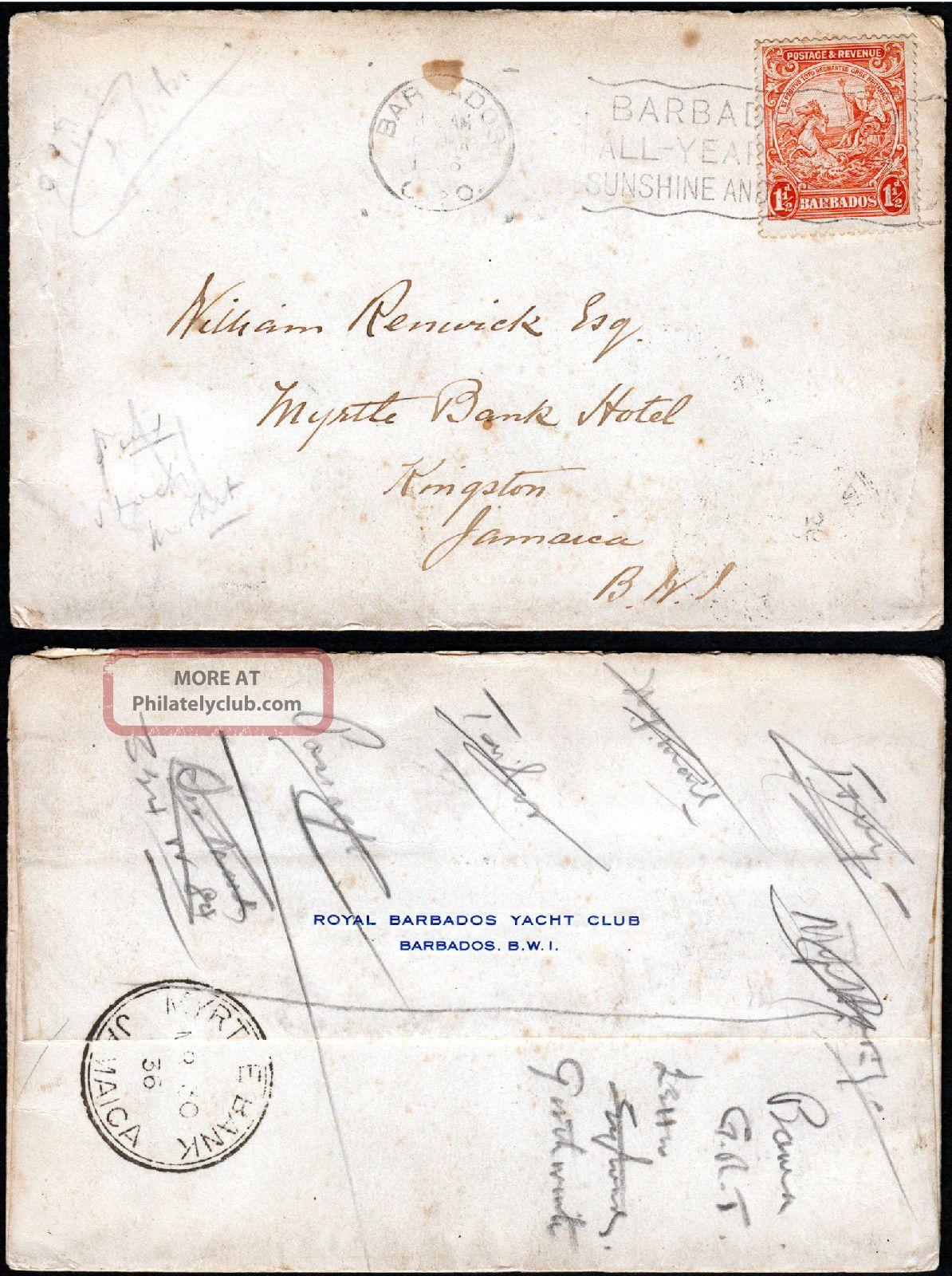 Barbados - Jamaica 1936 Cover F/w Badge Of Colony 1½d Canc Barbados Slogan British Colonies & Territories photo