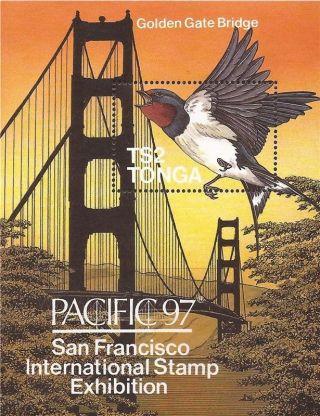 Tonga - 1997 Pacific Swallow,  Golden Gate Bridge - S/s - 20n - 035 photo