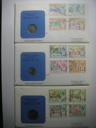 1970 Bermuda Decimal Ovpt Fdc + 5c 10c 25c Coin Vf photo