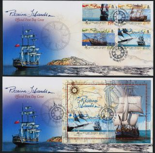 Pitcairn Islands 618 - 21a Fdc ' S - Sailing Ships,  Hms Bounty,  Map photo