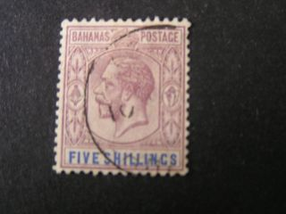 Bahamas,  Scott 83,  5/ - Value Violet & Ultra Kgv 1924 Issue photo