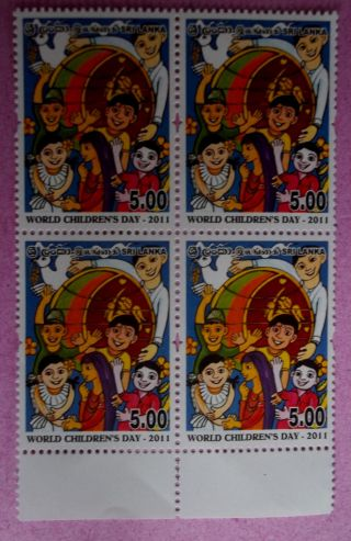 Sri Lanka (ceylon) World Children ' S Day 2011 Block Of Four. photo