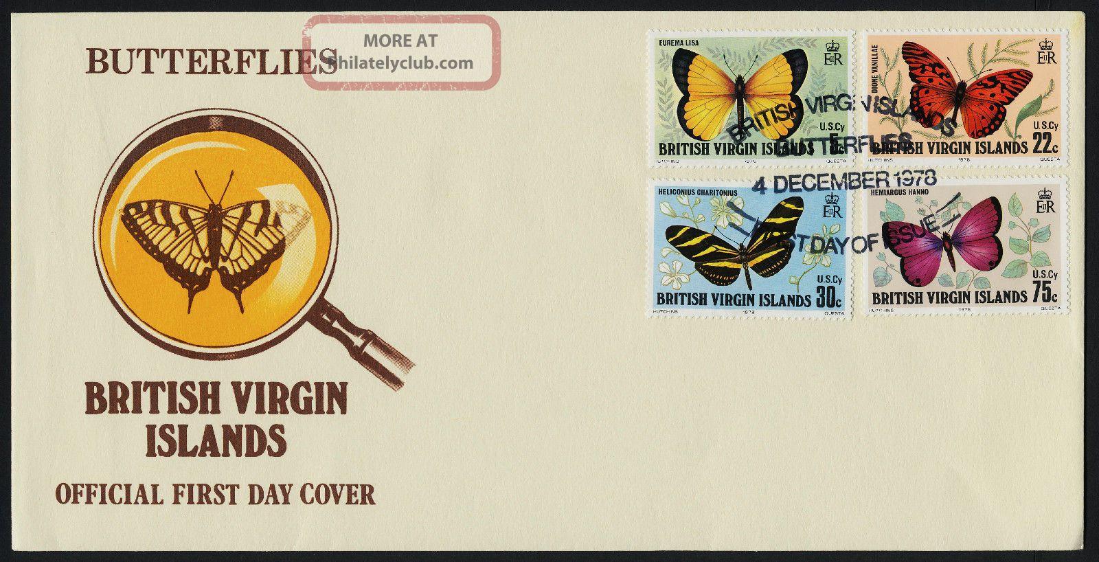 Virgin Islands 342 - 5 Fdc Butterflies British Colonies & Territories photo