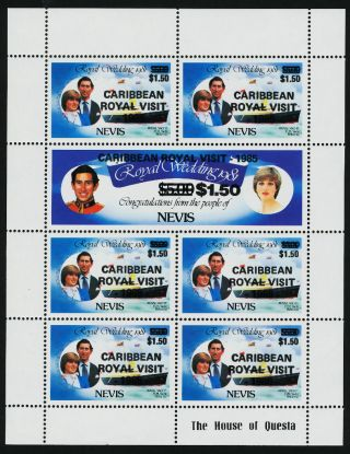Nevis 453 - 4 Sheet Royalty,  Charles & Diana,  Royal Visit,  Ship photo