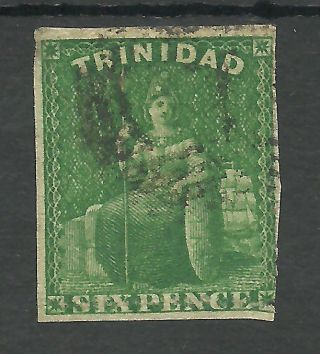 Trinidad Sg43 The 1859 6d Deep Green Cat £75,  See Scan photo