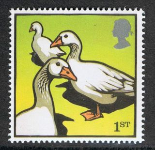 Embden Geese Illustrated On 2005 British Stamp - Nh photo