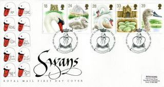 19 January 1993 Swans Royal Mail First Day Cover The Swan Santuary Egham Shs photo