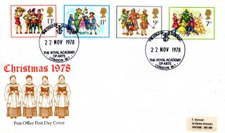 22 November 1978 Christmas Post Office First Day Cover Royal Academy Of Arts Shs photo