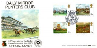 6 June 1979 Horseracing Benham Bocs 11 Carried Fdc Derby 200 Epsom Surrey Shs photo