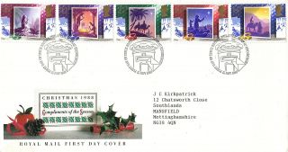 15 November 1988 Christmas Royal Mail First Day Cover Bureau Shs photo