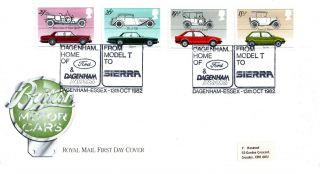 13 October 1982 British Motor Cars Royal Mail First Day Cover Dagenham Essex Shs photo