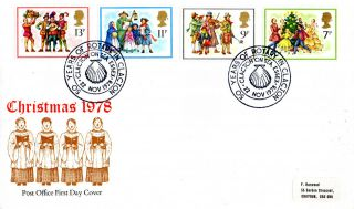 22 November 1978 Christmas Post Office First Day Cover Clacton On Sea Rotary Shs photo