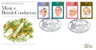 10 September 1980 Famous Conductors Po First Day Cover Rossall School Shs photo