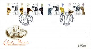 10 February 1982 Charles Darwin Royal Mail First Day Cover Cambridge Penguin Shs photo