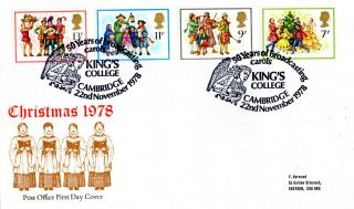 22 November 1978 Christmas Post Office First Day Cover Kings College Cambridge photo