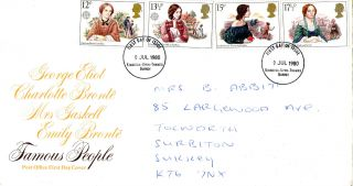 9 July 1980 Famous People Post Office First Day Cover Kingston Upon Thames Fdi photo