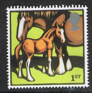 Clydesdale Mare And Foal Illustrated On 2005 British Stamp - Nh photo