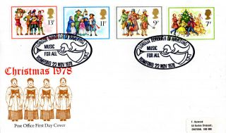 22 November 1978 Christmas Post Office First Day Cover Music For All Shs photo