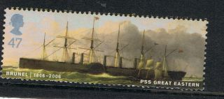 Brunel - S S Great Eastern Illustrated On 2006 British Stamp - Nh photo